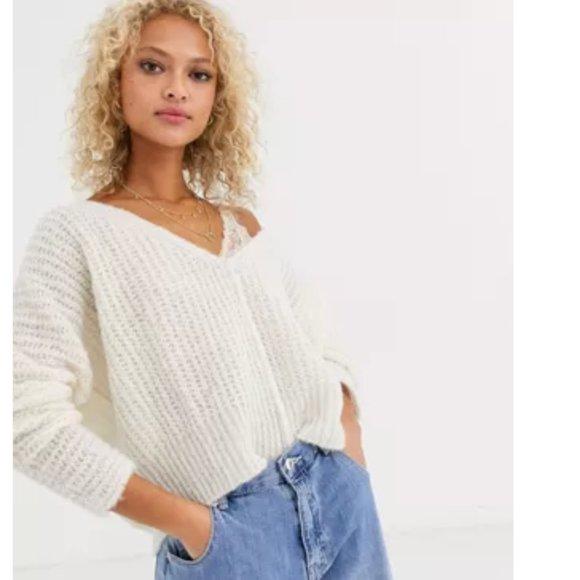 Free People Moonbeam V-Neck Ribbed Alpaca Sweater